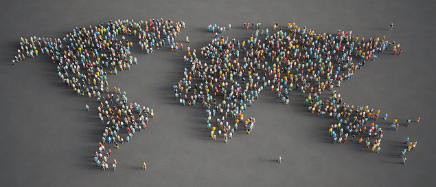 3d low poly people gathered together and formed a World map.