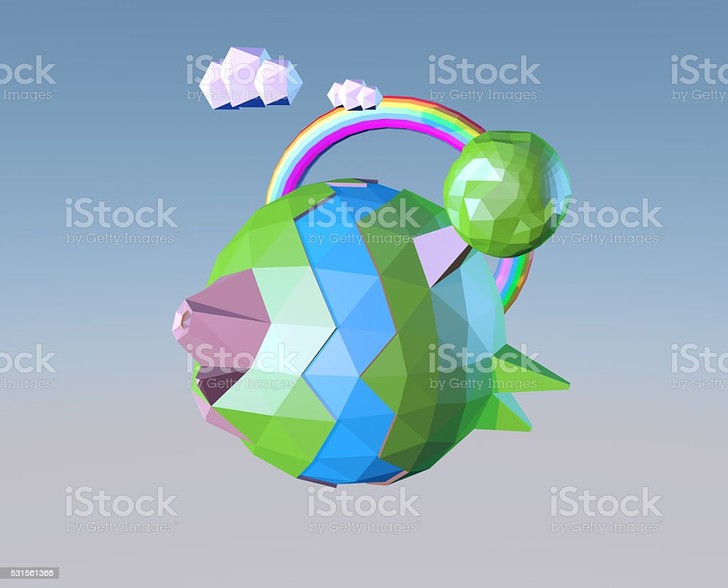 Low poly planet stock photo