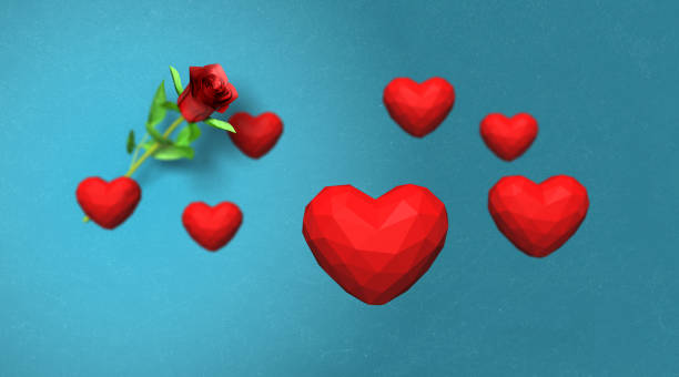 low poly red hearts falling over blue background - low poly rose stock photos and pictures