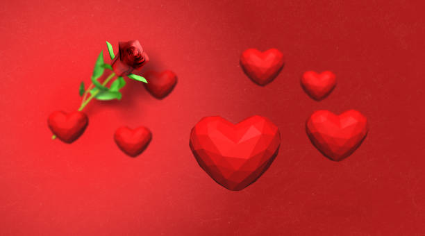 low poly red hearts falling over red background - low poly rose stock photos and pictures