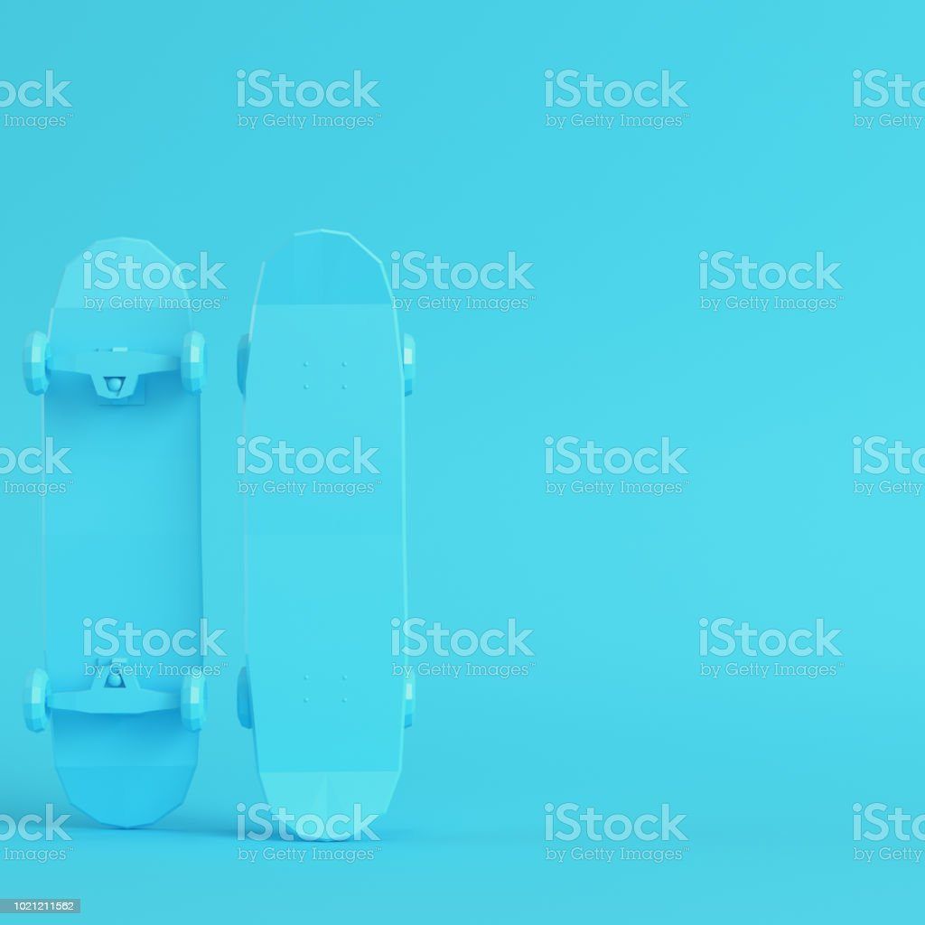 d7693548 Low poly skateboard deck on bright blue background in pastel colors royalty-free  stock photo