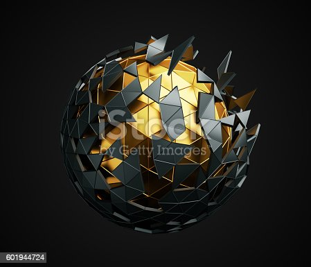 istock Low Poly Sphere with Chaotic Structure. 601944724