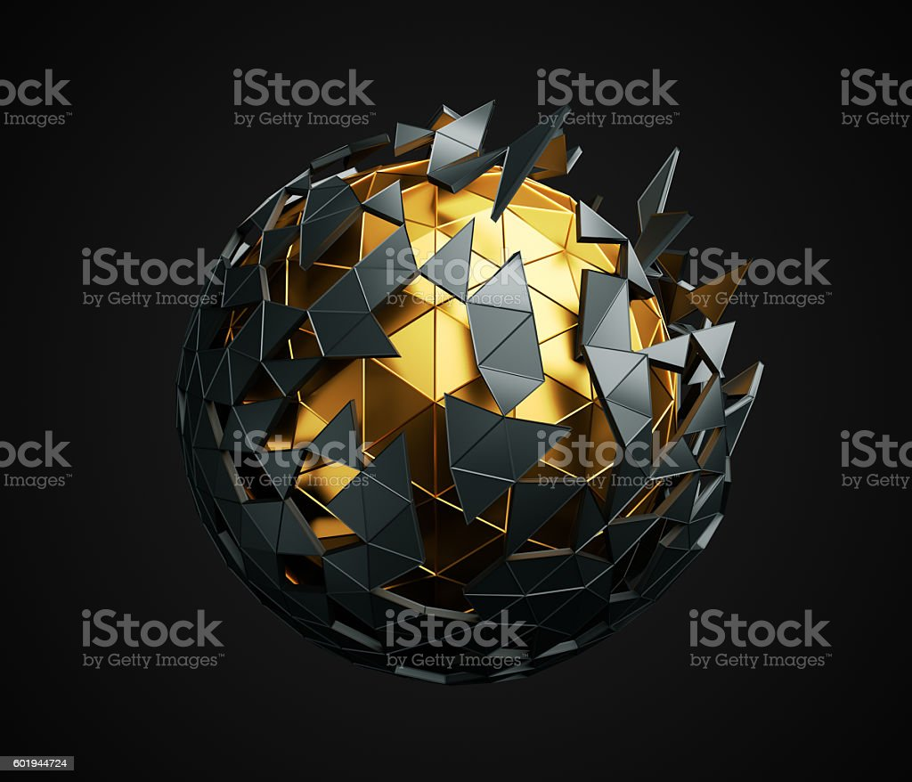 Low Poly Sphere with Chaotic Structure. - foto de acervo