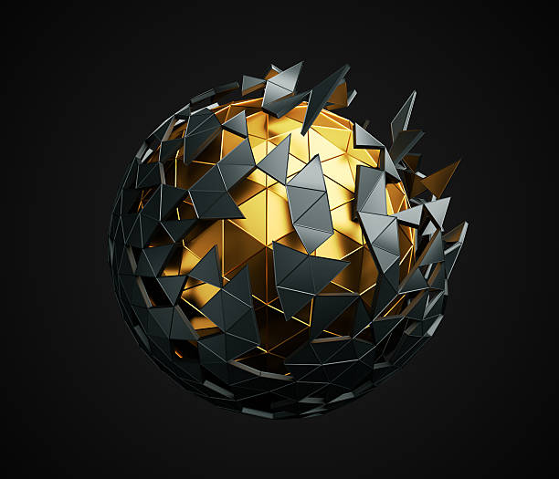Low Poly Sphere with Chaotic Structure. ストックフォト