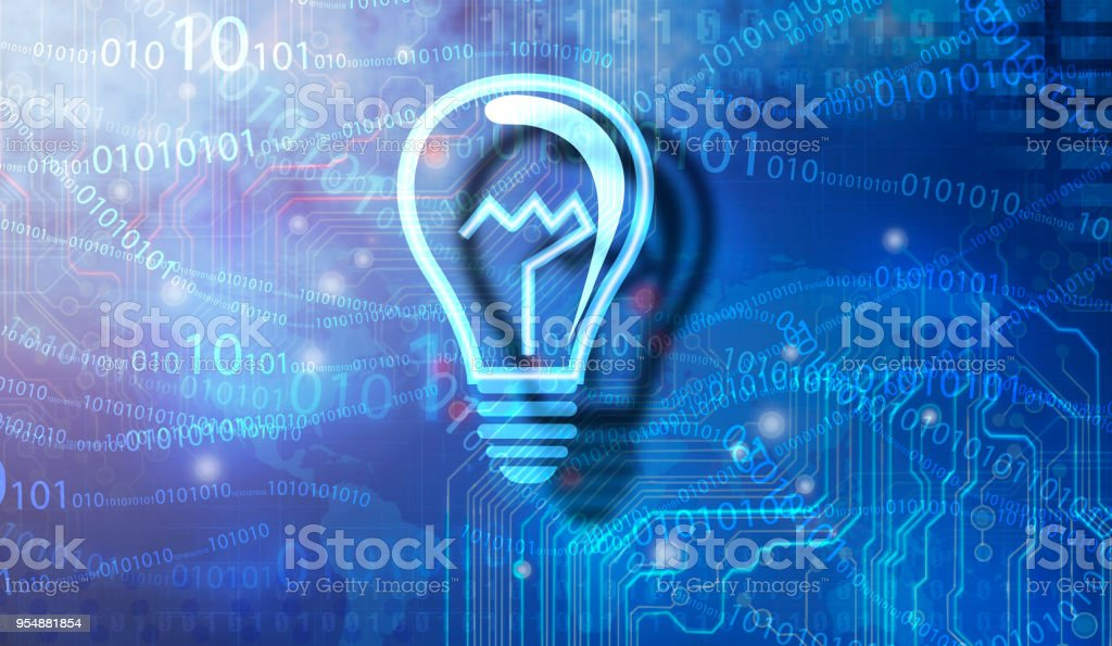 Low Poly Style Light bulb stock photo