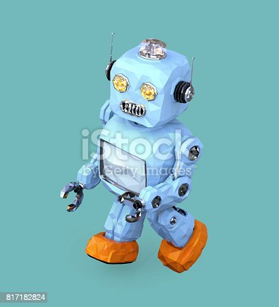 678279896 istock photo Low poly walking retro robot isolated on blue background 817182824