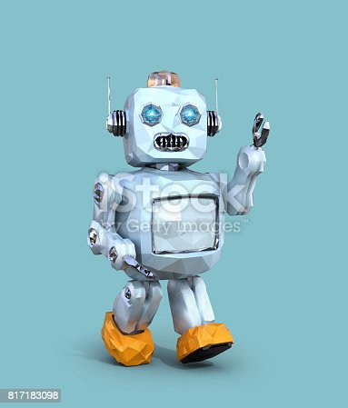 678279896 istock photo Low poly walking retro robot isolated on blue background 817183098