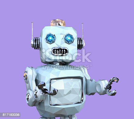 678279896 istock photo Low poly walking retro robot isolated on purple background 817183036