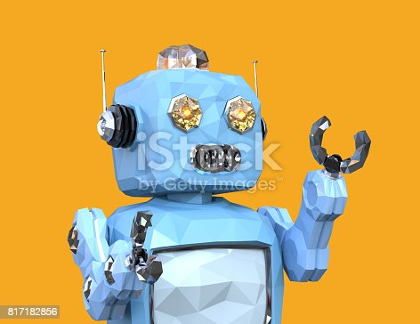 678279896 istock photo Low poly walking retro robot isolated on yellow background 817182856