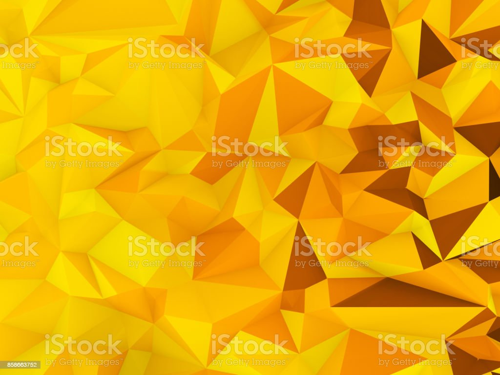 Low polygon graphic background with yellow theme (Halloween theme) stock photo