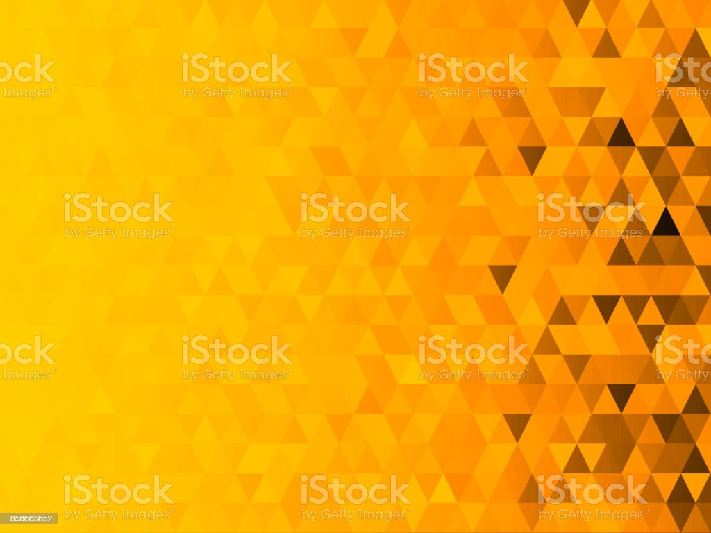 Low polygon mosaic graphic background with yellow theme (Halloween theme) stock photo