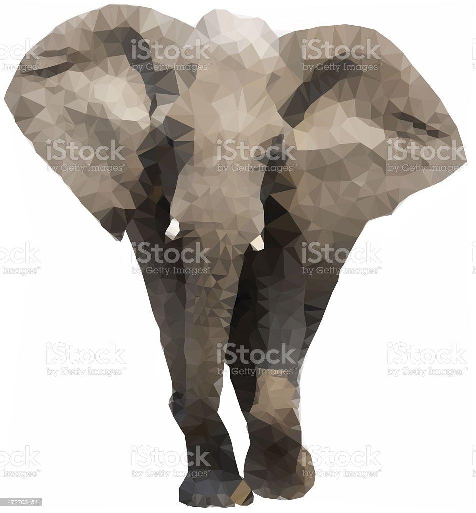 Low Polygonal Elephant stock photo