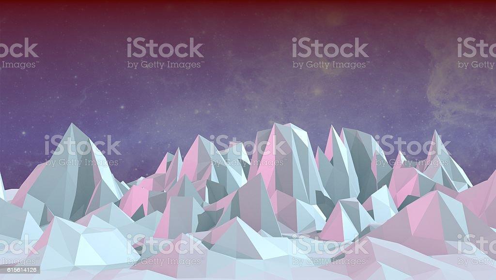 low polygonal landscape stock photo