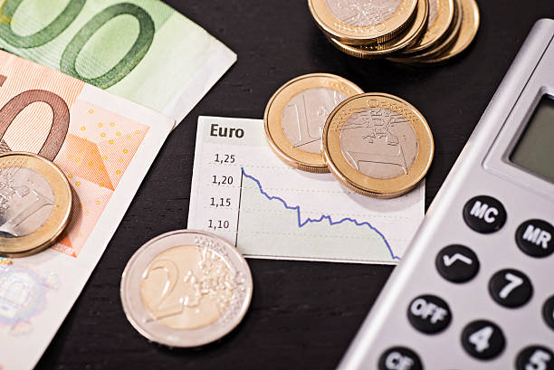 Low rate of the euro stock photo
