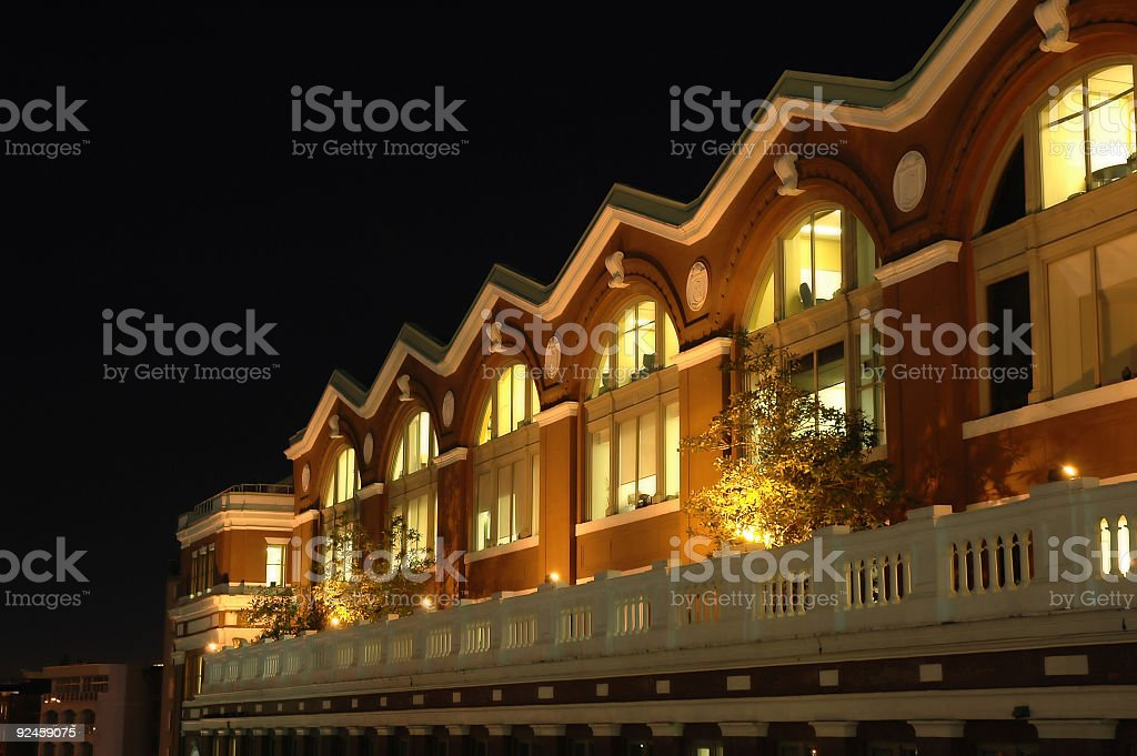 Low Rise Offices at Night stock photo
