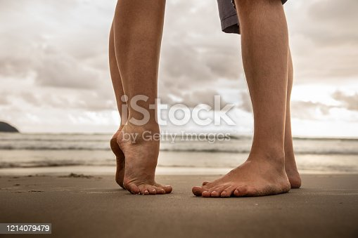Low section of lovers at beach