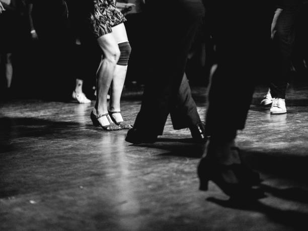 Low section of Vintage style photography people dancing stock photo