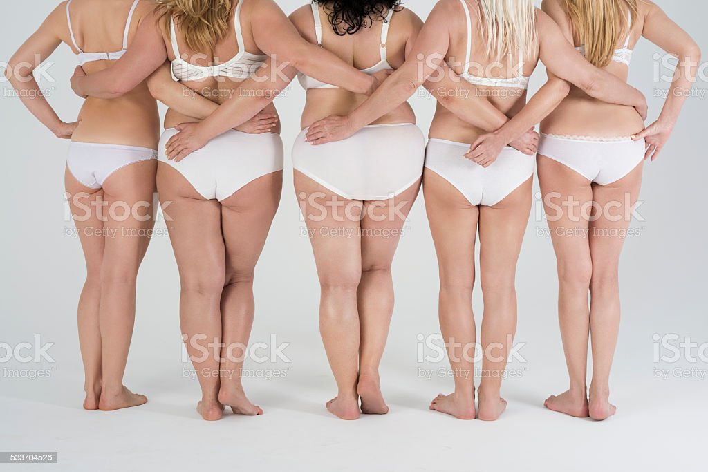 Low section of women's buttocks and legs stock photo