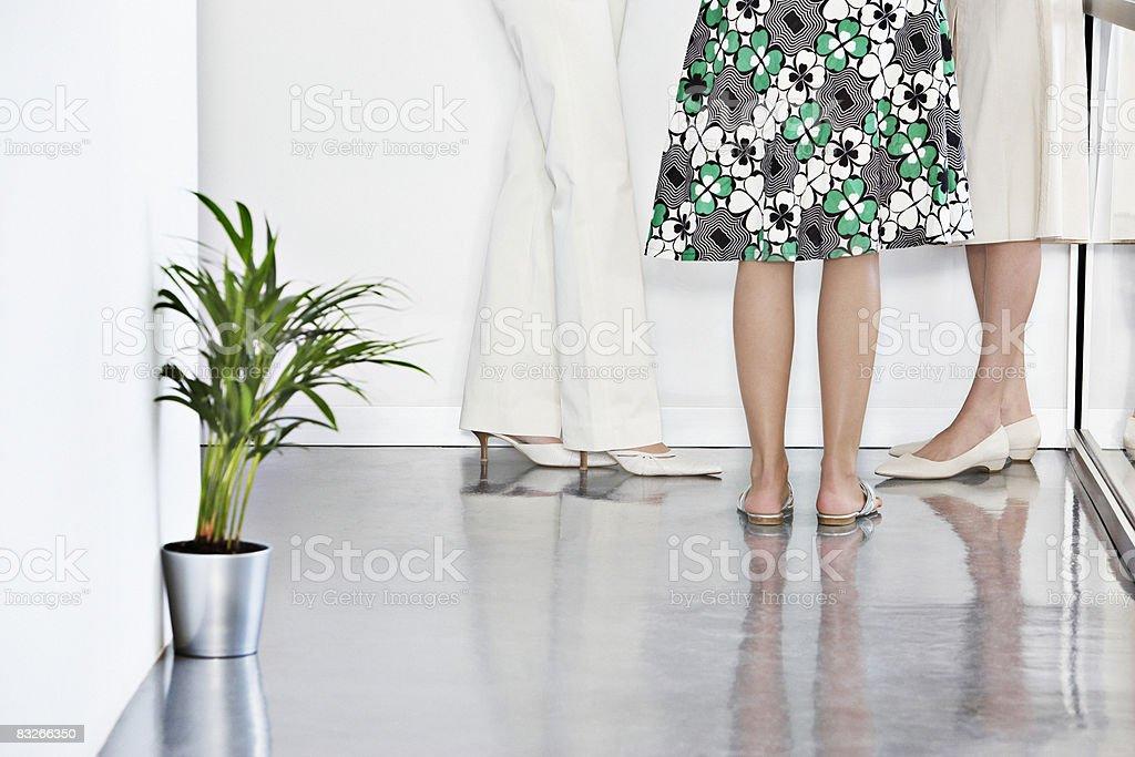 Niski część widok trzy businesswoman rozmowy zbiór zdjęć royalty-free