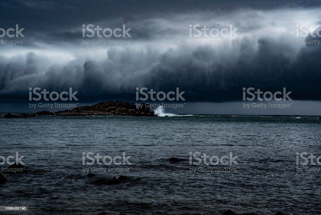 low storm clouds stock photo