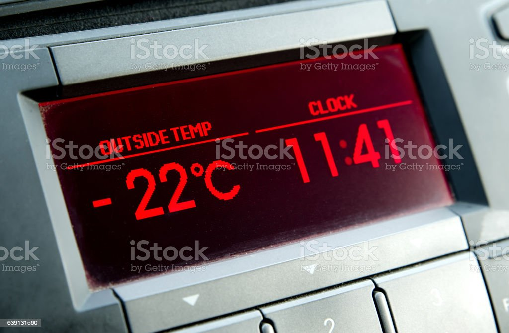 Low temperature on car display .Cold winter stock photo