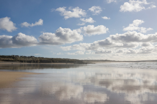 Low tide and fluffy clouds and Godrevy beach