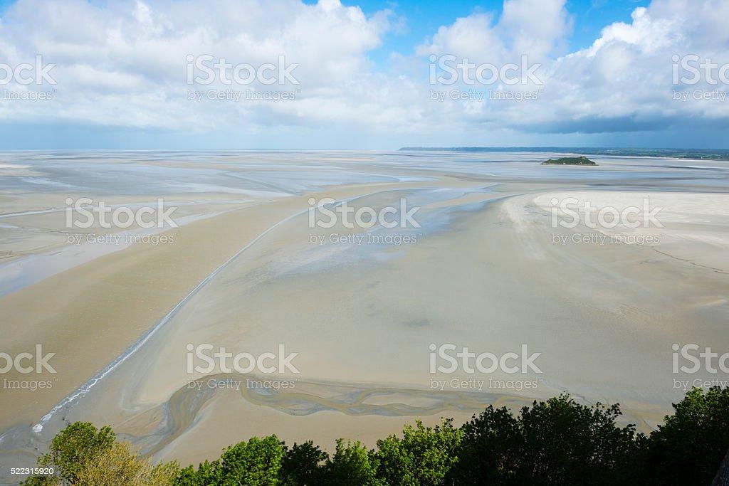 Low tide at Mont Saint-Michel, Normandy, France stock photo