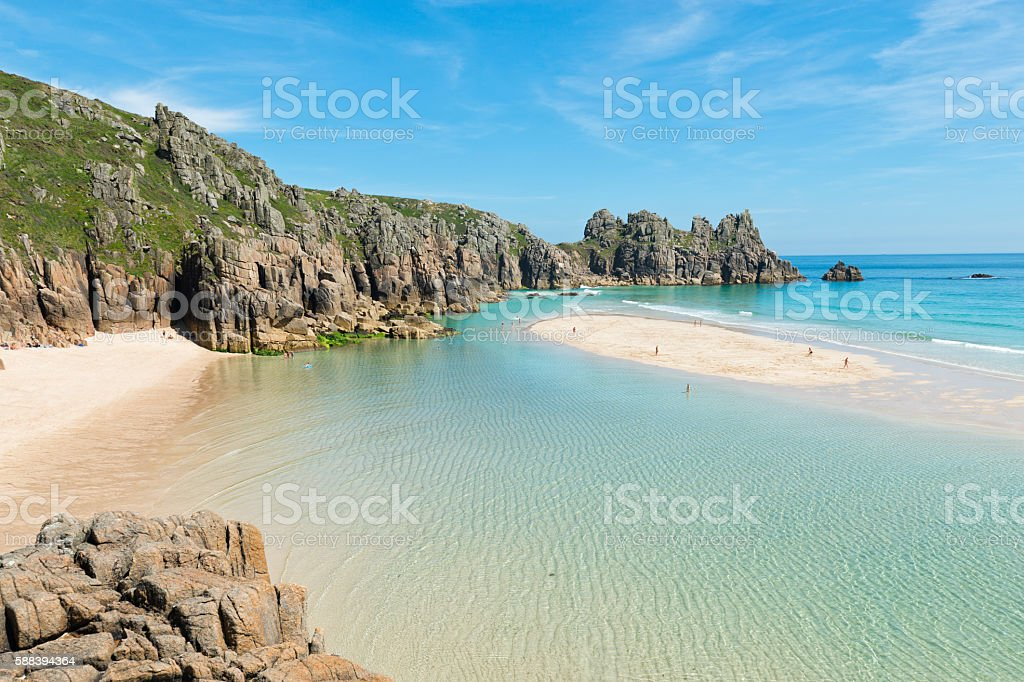 Low tide at Pedn Vounder Beach, Cornwall stock photo
