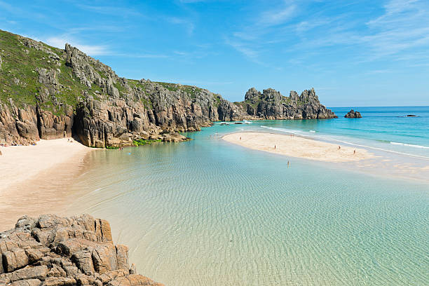 low tide at pedn vounder beach, cornwall - cornwall stock pictures, royalty-free photos & images
