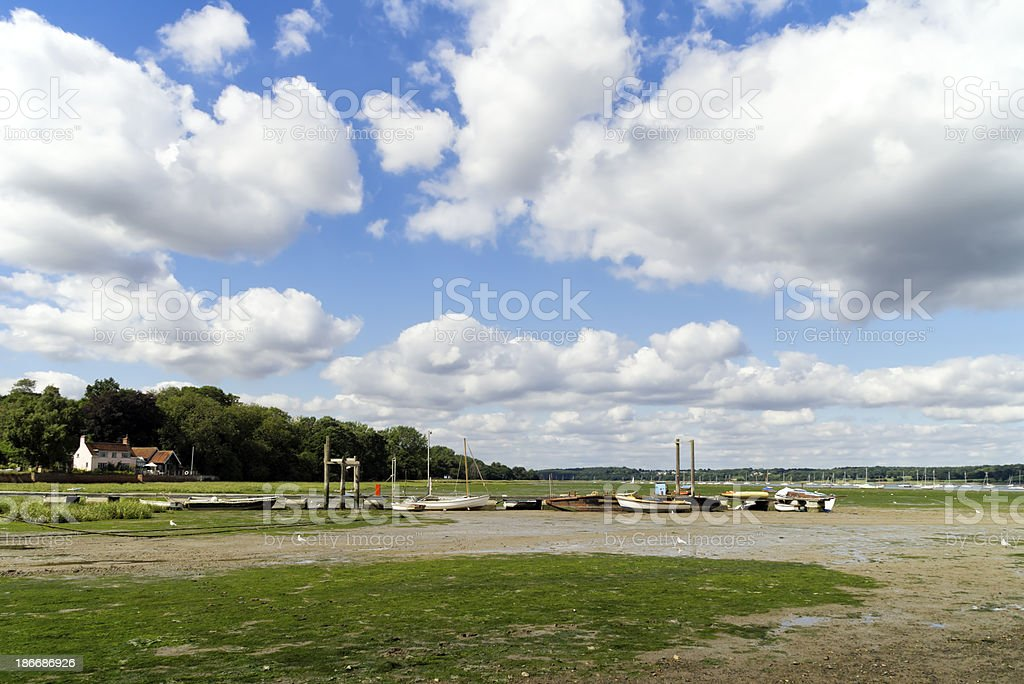 Low tide at Pin Mill, Suffolk royalty-free stock photo