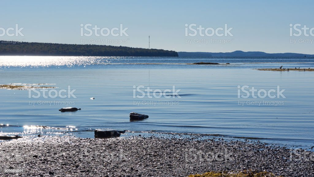 Low tide at Searsport, Maine with sunlight stock photo