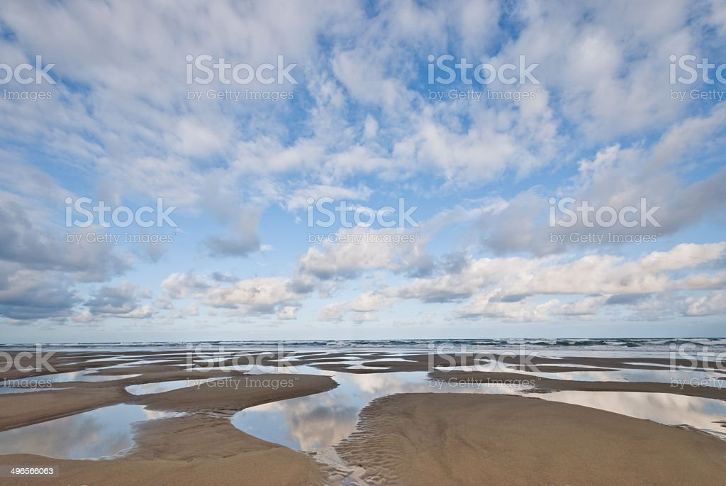 Pacific Ocean Beach at Low Tide - Royalty-free Beach Stock Photo