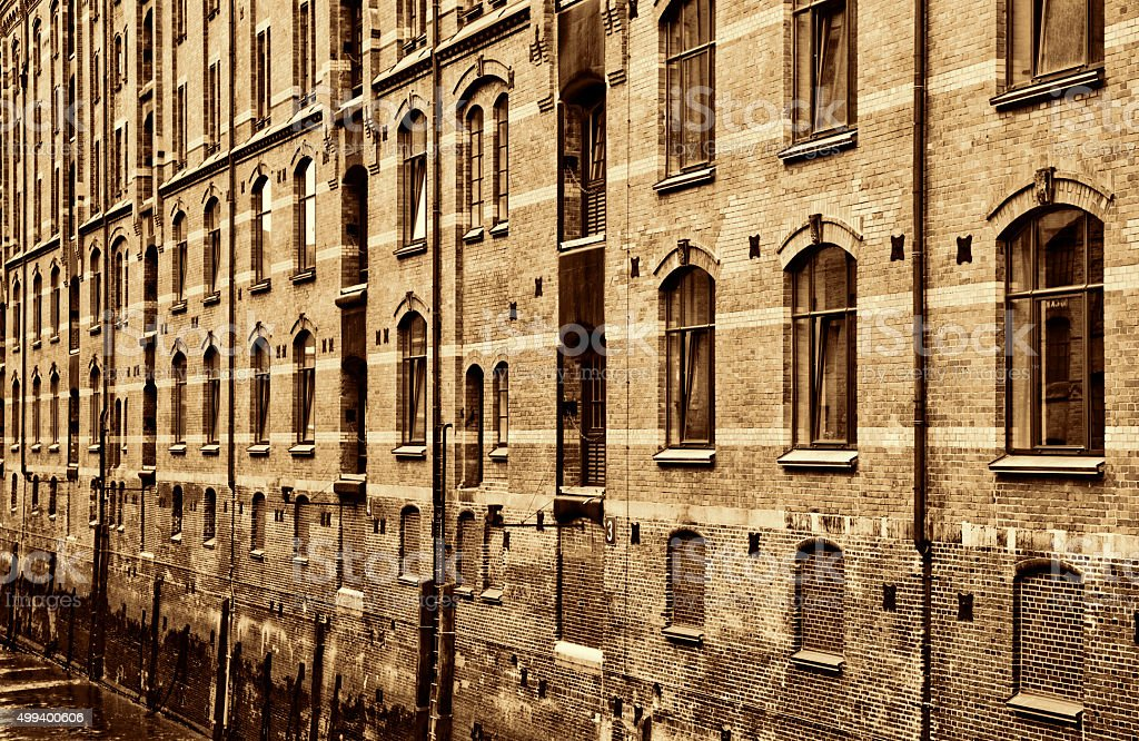 Low Tide at the Speicherstadt in Hamburg Germany stock photo