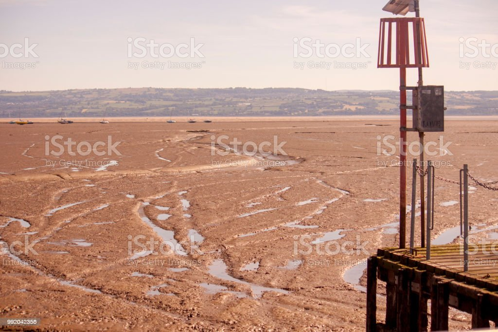 Low tide beach, from a viewpoint called tell's tower. stock photo