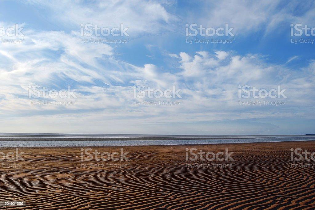 Low Tide, Blue Sky stock photo