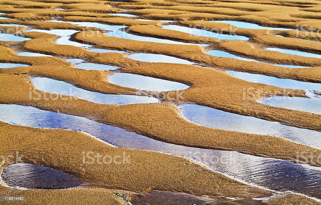 Low tide in Port Talbot, Wales stock photo