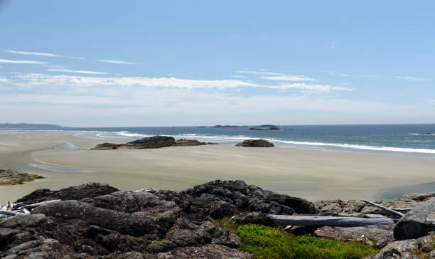 Low tide near rocks at south end of Long Beach in Tofino, Brititsh Columbia stock photo