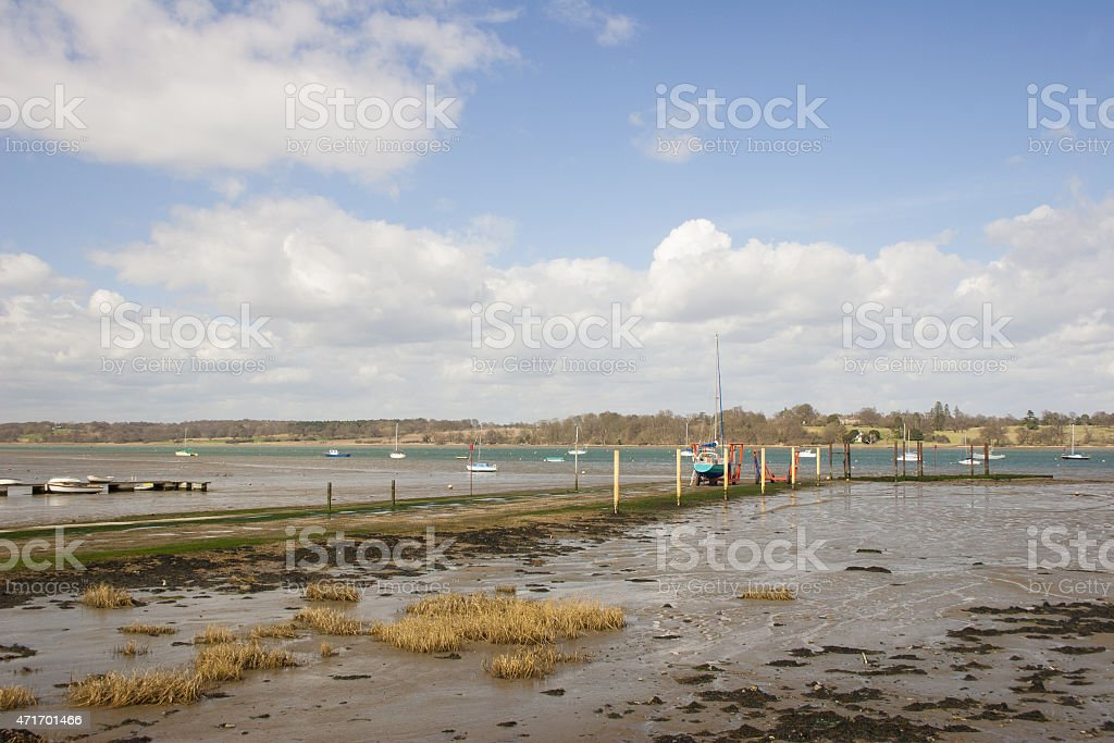 Low tide on River Orwell at Pin Mill, Suffolk stock photo