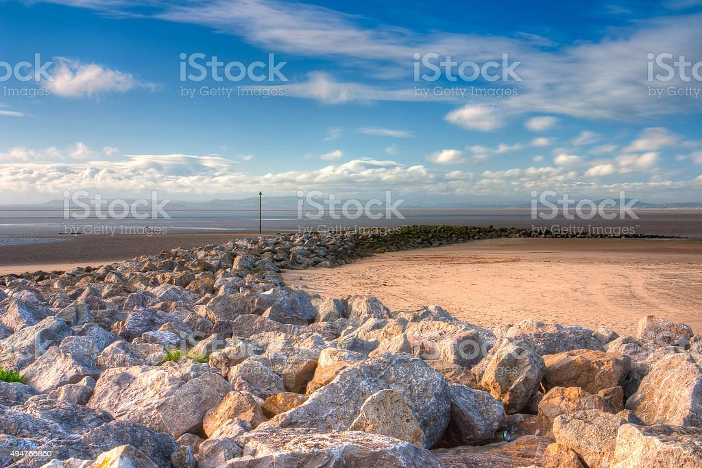 Low tide on the beach in Morecambe, HDR Image stock photo
