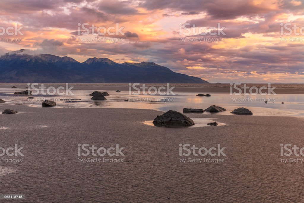 Low Tide Sunset at Cook Inlet Alaska royalty-free stock photo