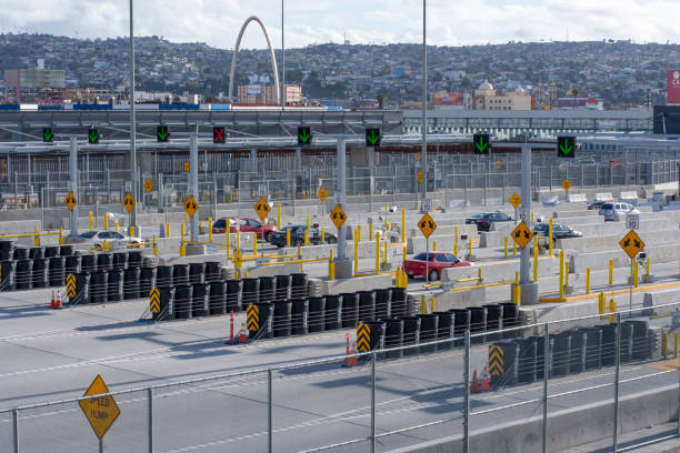 Low traffic flow at border crossing into Mexico stock photo