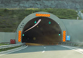 Modern tunnels on the highway in central Serbia, photographed from cars on the move