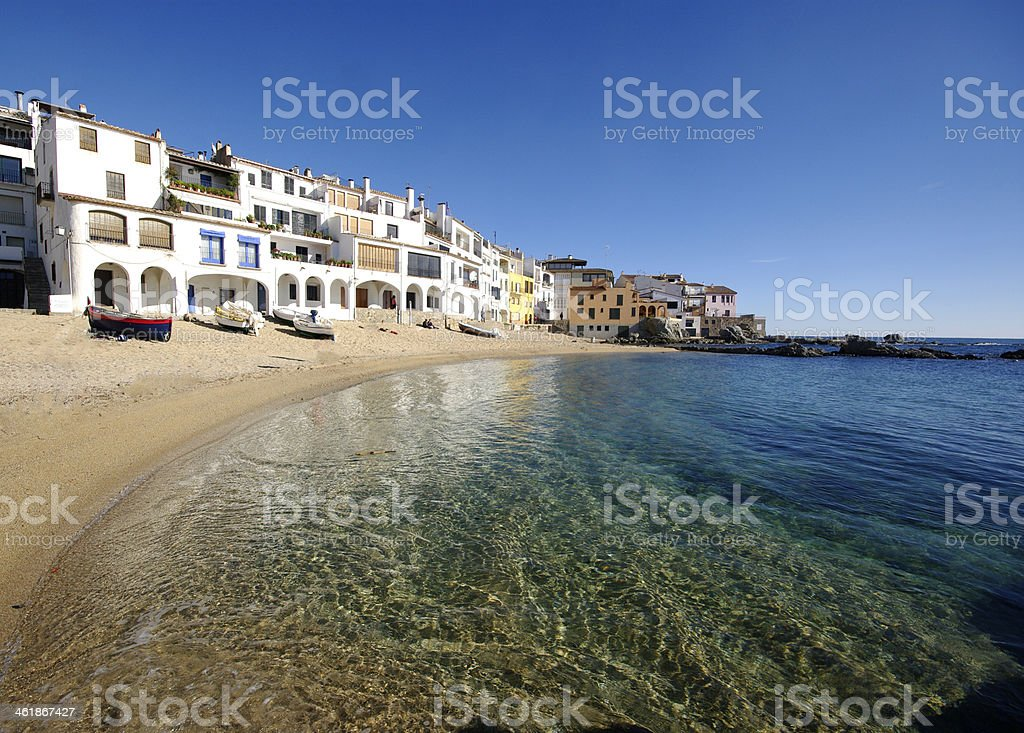 Low view of Calella de Palafrugell beach in Catalonia Spain stock photo