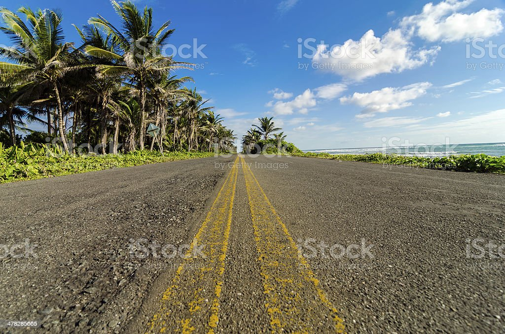 Low View of Coastal Road stock photo