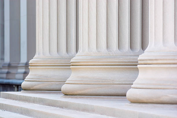 Low view of columns in a row stock photo
