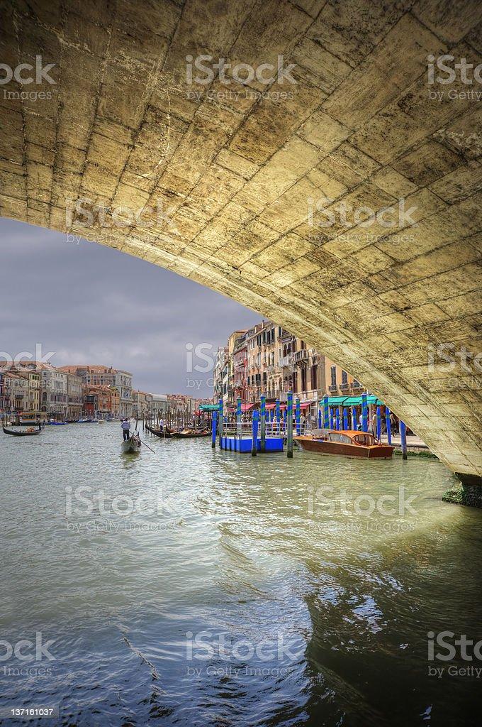 Low view through Rialto Bridge along Grand Canal Venice Italy royalty-free stock photo