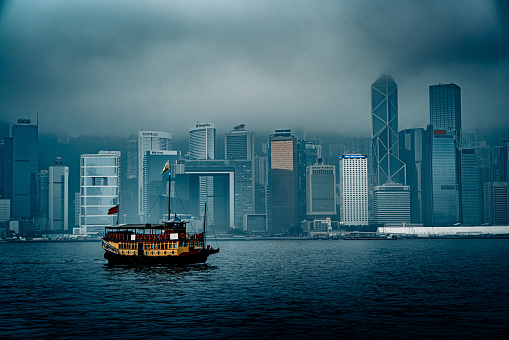 Low visibility on Victoria Harbour in Hong Kong