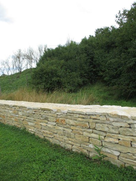 mäuerchen mit steinen gebaut - steine für gartenmauer stock-fotos und bilder