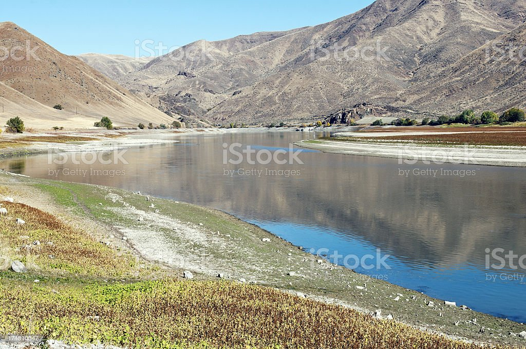 Low water in Snake River at Farewell Bend OR stock photo