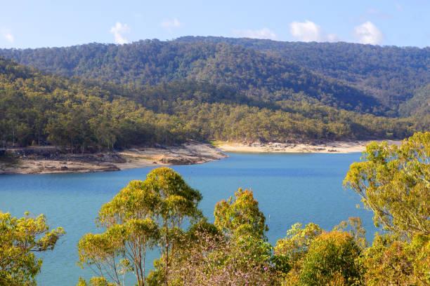 Low water level at Tinaroo Falls Dam in Queensland, Australia stock photo